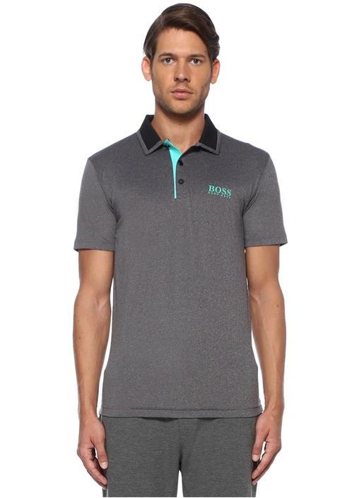 Slim Fit Gri Siyah Polo Yaka T-shirt