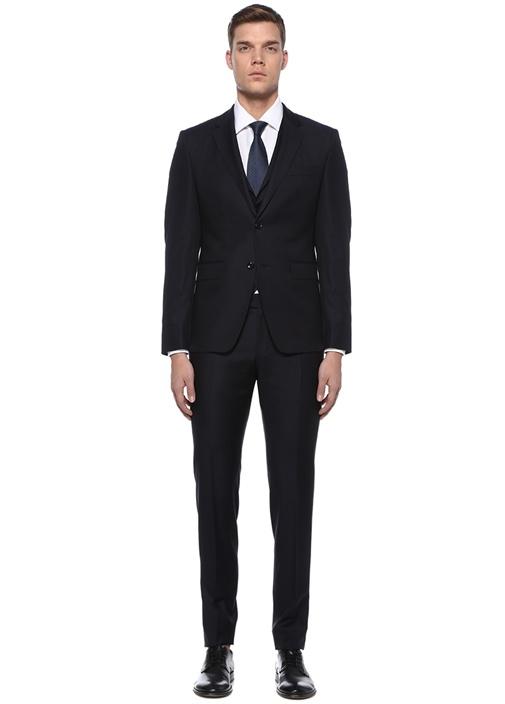 Tailored Fit Lacivert Yelekli Yün Takım Elbise