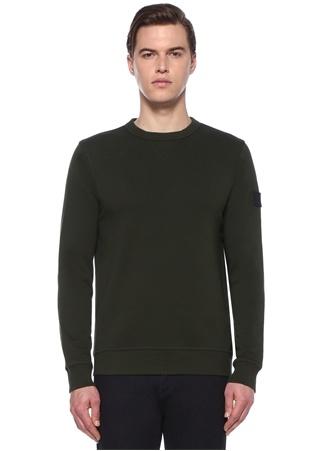 Boss Erkek Haki Logo Detaylı Casual Sweatshirt Yeşil XL EU male