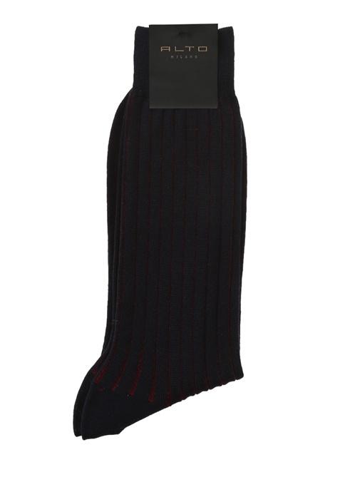 Lacivert Kırmızı Çizgili Erkek Yün Çorap