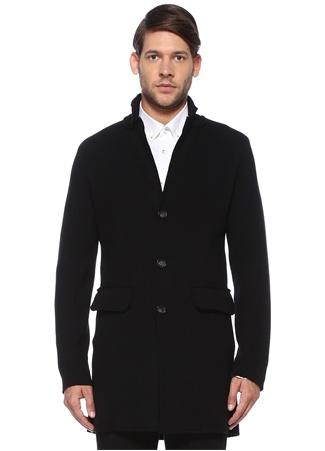 Alpha Studio Erkek Siyah Kelebek Yaka Yırtmaçlı Yün Palto 52 IT male