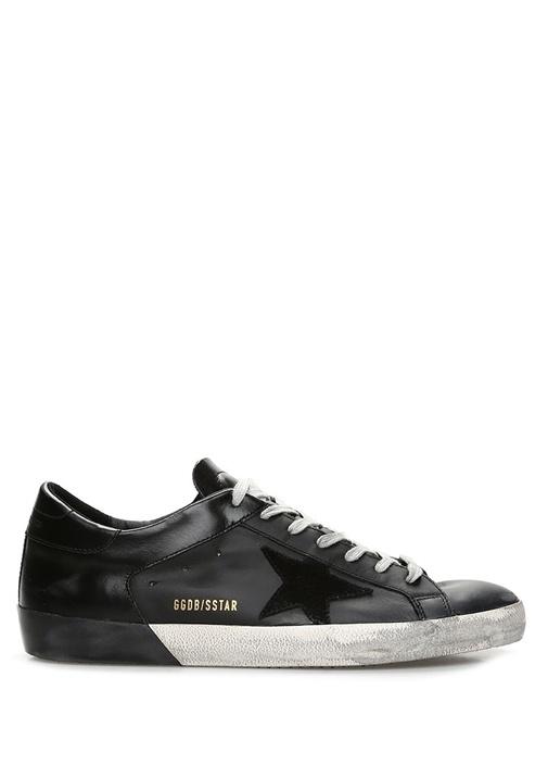 Superstar Siyah Eskitmeli Erkek Deri Sneaker
