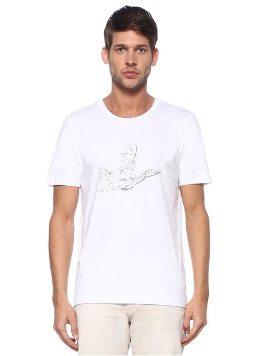 Beyaz Kontrast Kuş Baskılı Basic T-shirt
