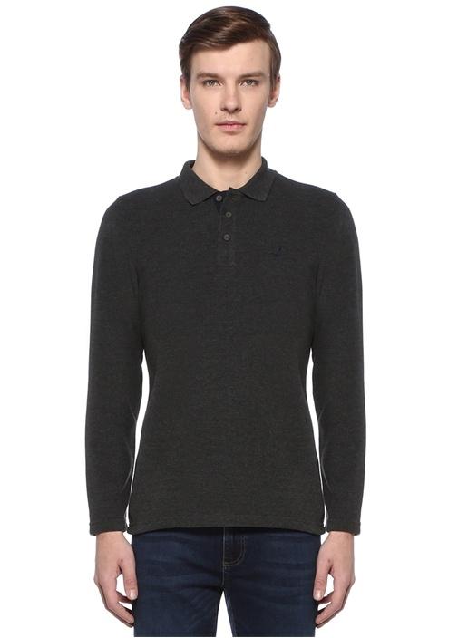 Antrasit Polo Yaka Logolu Sweatshirt