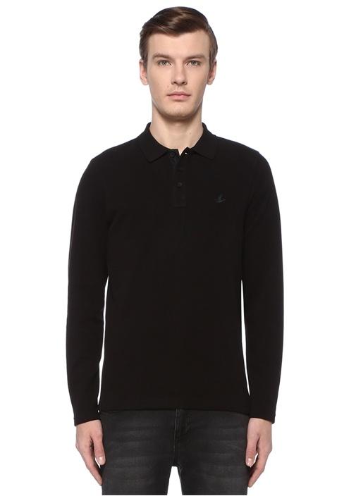 Siyah Polo Yaka Logolu Sweatshirt