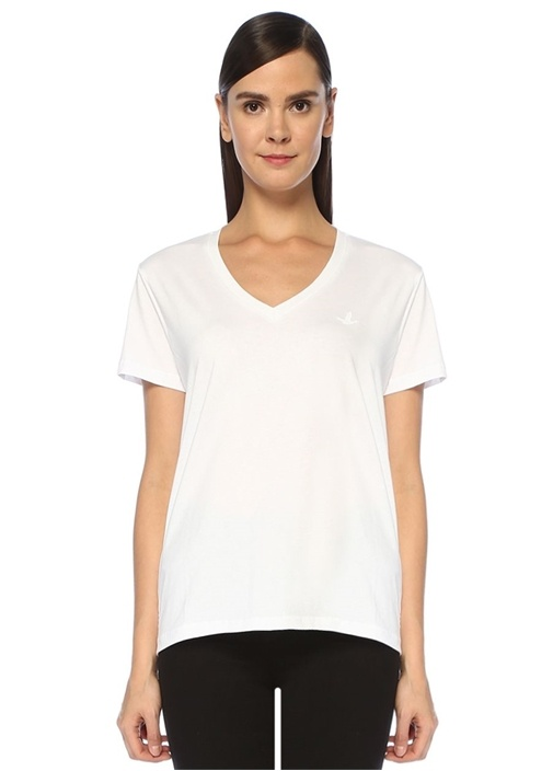 Beyaz V Yaka Basic T-shirt
