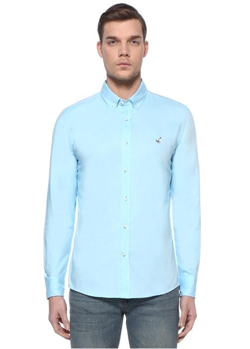 Slim Fit Mavi Polo Yaka Oxford Gömlek