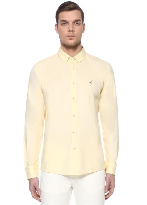 Slim Fit Sarı Polo Yaka Oxford Gömlek