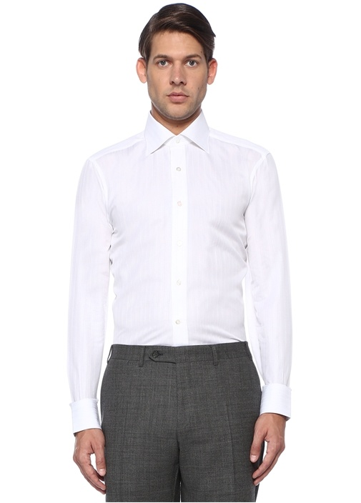 Cesare Beyaz Düğmeli Yaka Çizgili Gömlek