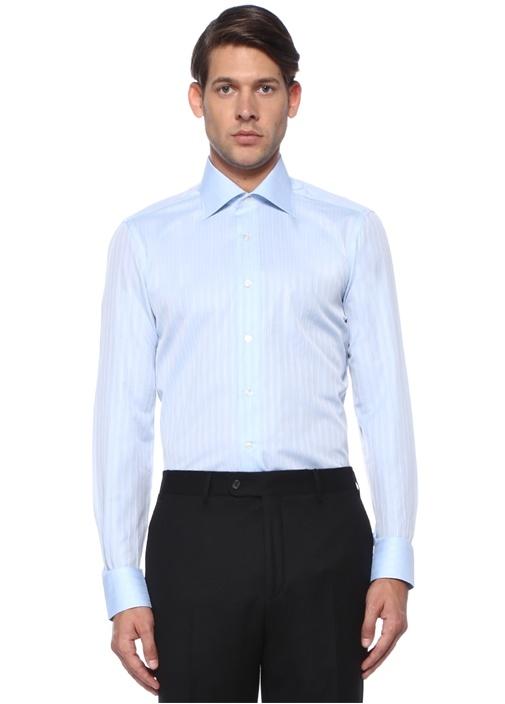 Cesare Mavi Beyaz Düğmeli Yaka Çizgili Gömlek