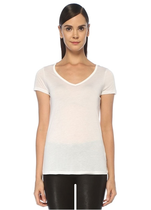Malin Beyaz V Yaka Basic T-shirt