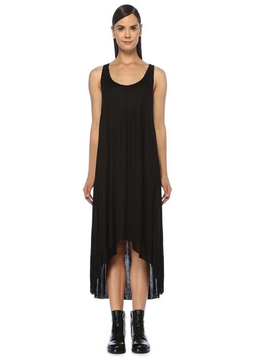 Frederike Siyah Volanlı Midi Elbise