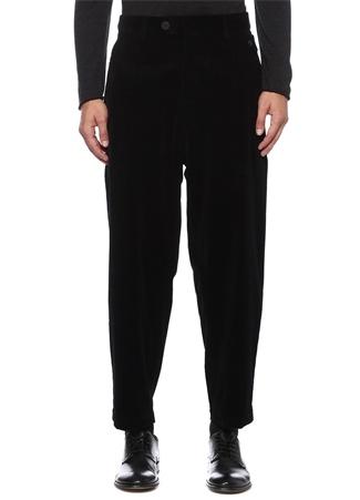 Siyah Düşük Ağlı Kadife Pantolon