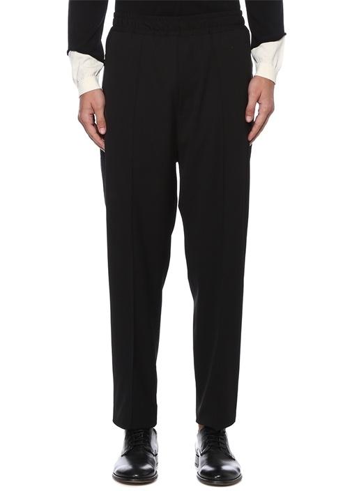 Siyah Biye Detaylı Yün Pantolon