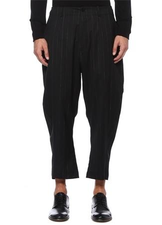 Siyah Yüksek Bel Çizgi Desenli Yün Pantolon