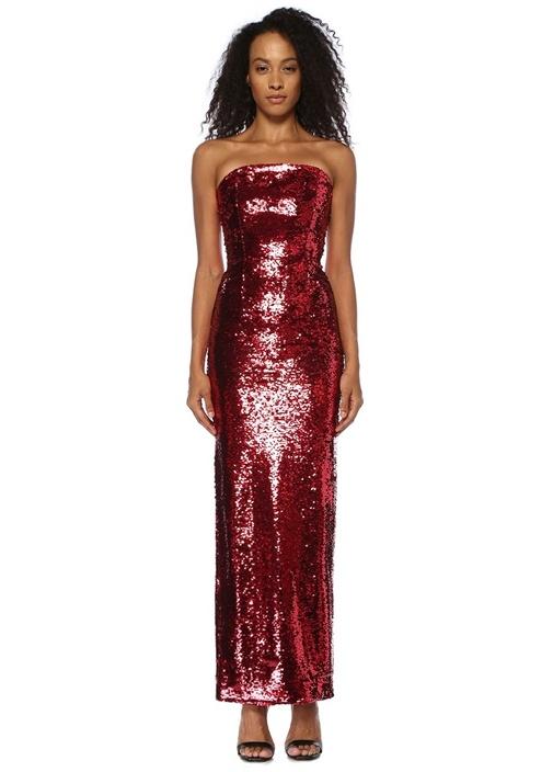 Jorja Kırmızı Straplez İşlemeli Maksi Abiye Elbise