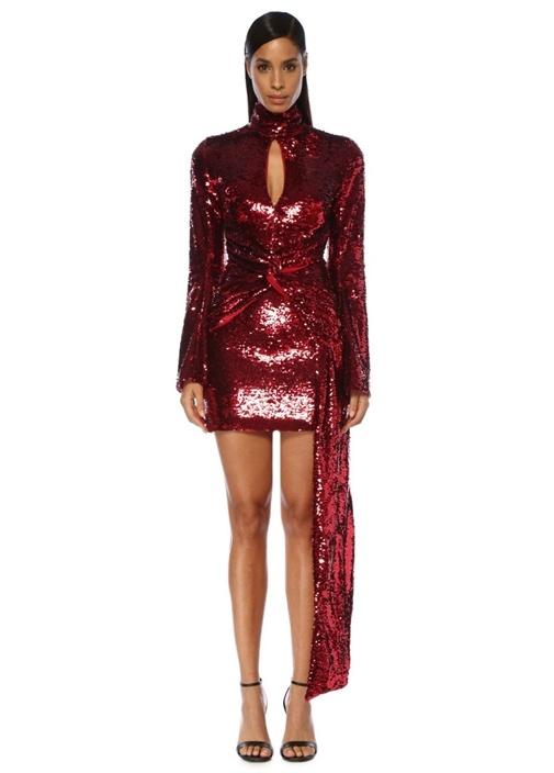 Catherine Kırmızı Payetli Mini Kokteyl Elbisesi