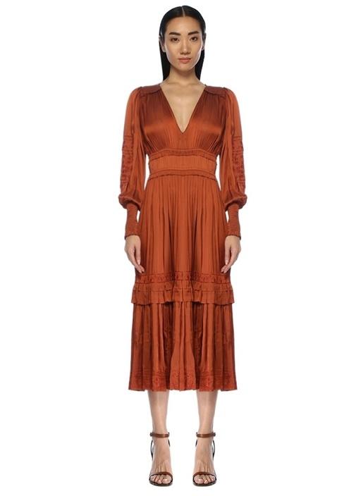 Shaina Kiremit V Yaka Pilili Midi Elbise