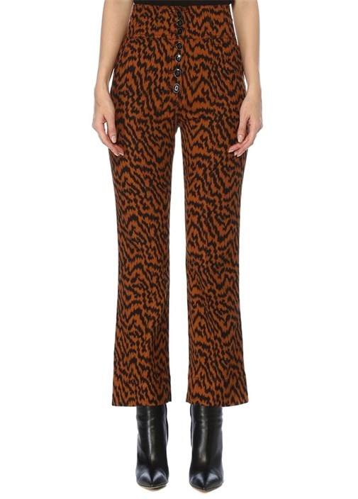 Ellis Zebra Desenli Bol Paça Crop Jean Pantolon