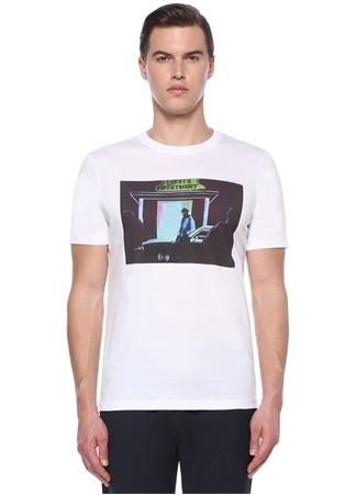 Erkek Sheriffs Department Baskılı Basic T-shirt Beyaz S IT