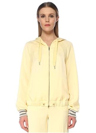 Beymen Collection Kadın Sarı Kapüşonlu Ribana Detaylı Sweatshirt Bej 44 female