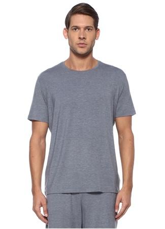 Gri Bisiklet Yaka Basic Jersey T-shirt