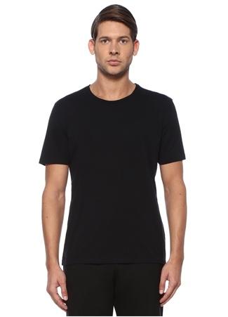 Siyah Bisiklet Yaka Basic Jersey T-shirt