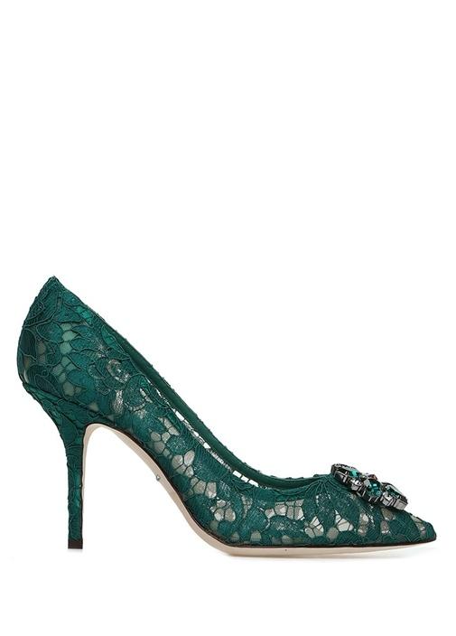 Rainbow Lace Yeşil Taşlı Stiletto