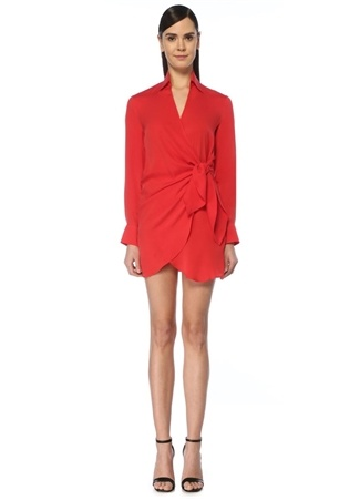 Academia Kadın Kırmızı V Yaka Bağcıklı Mini İpek Anvelop Elbise 36 female