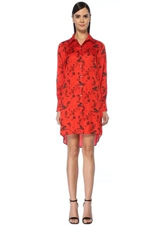 Academia Kadın Kırmızı Deniz Kızı Desenli Mini Gömlek Elbise 36 female