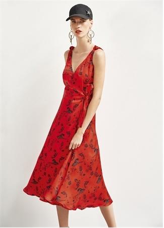 Academia Kadın Kırmızı V Yaka Desenli Midi Anvelop Elbise 38 female