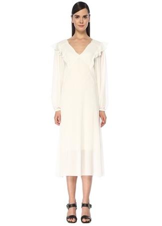 Academia Kadın Beyaz V Yaka Volanlı Balon Kol Midi Şifon Elbise 38 female