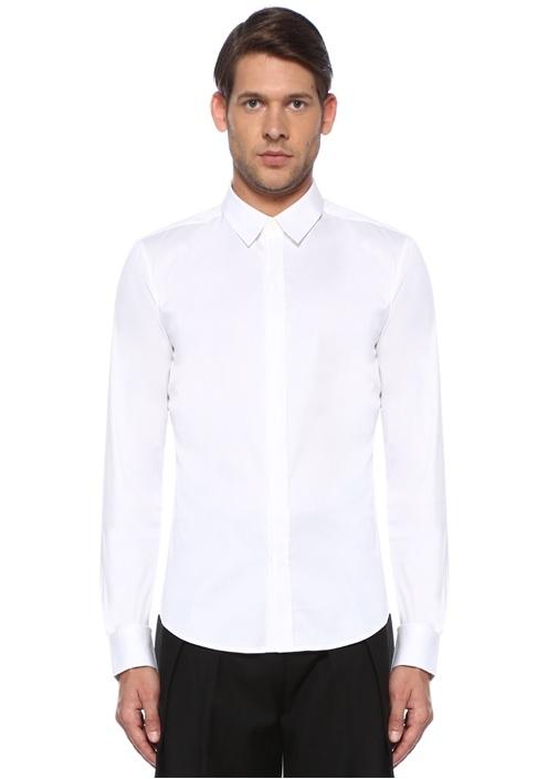 Beyaz İngiliz Yaka Gizli Patlı Gömlek