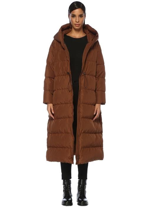 Cloud Kahverengi Kapüşonlu Uzun Puff Palto