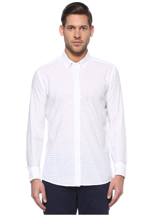 Slim Fit Beyaz Çizgili Gömlek