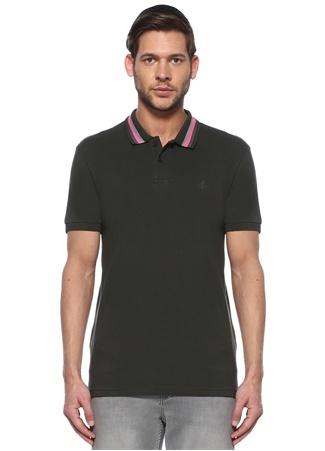 Beymen Club Erkek Slim Fit Haki Yakası Çizgili T-shirt male