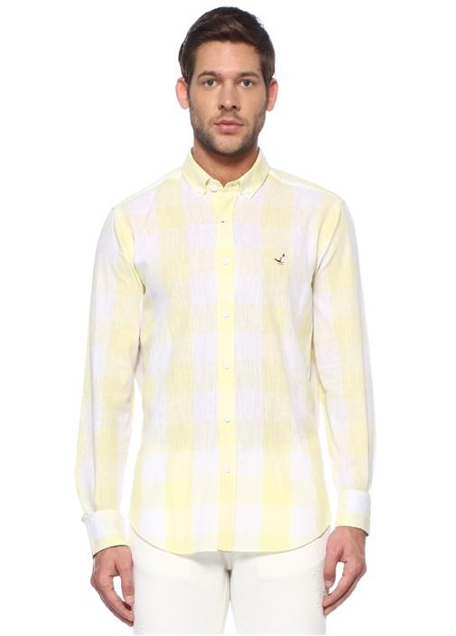 Comfort Fit Sarı Kare Desenli Gömlek