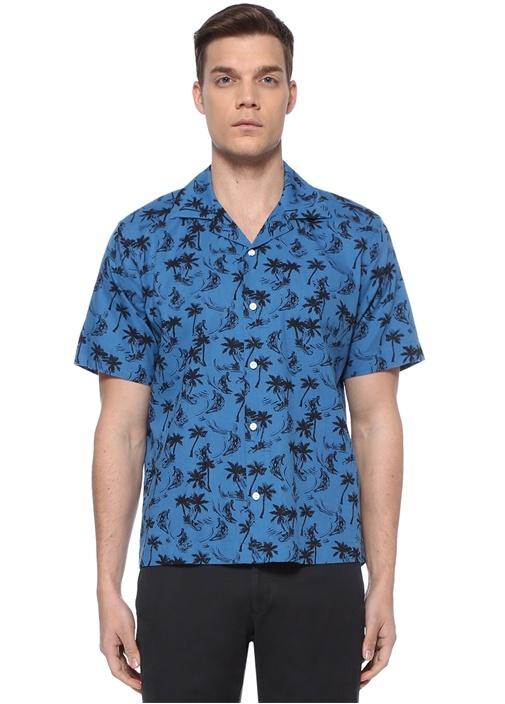 Mavi Palmiye Baskılı Apaç Yaka Gömlek