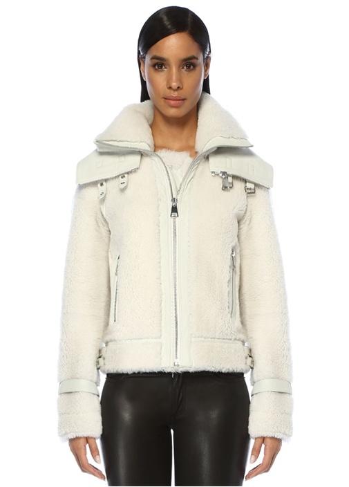 Skye Beyaz Yaka Detaylı Shearling Deri Ceket