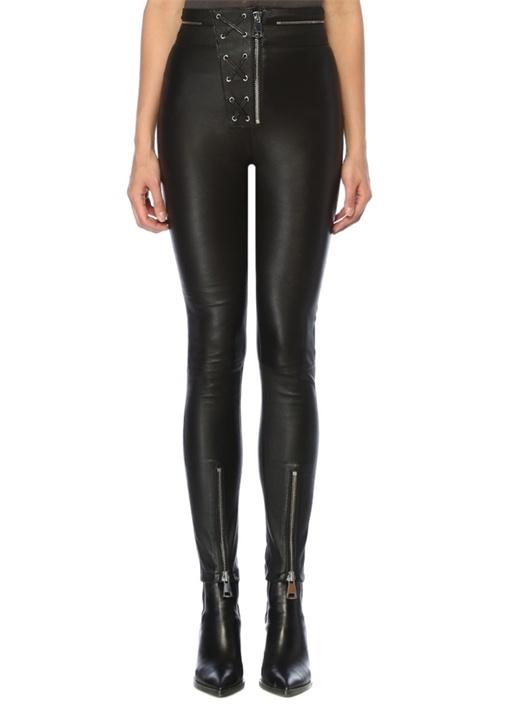 Moby Siyah Beli Kuşgözü Detaylı Deri Pantolon