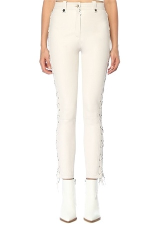 Lol Kadın Shea Ekru Yanı Kuşgözü Detaylı Deri Pantolon Beyaz 36 EU