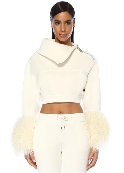 Carrie Beyaz Kolu Tüy Detaylı Crop Sweatshirt