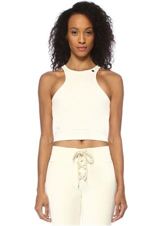 Lol Kadın Venice Halter Yaka Beyaz Dokulu Crop Bluz M/L EU