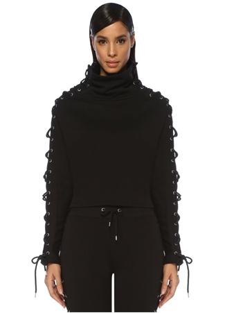 Vivian Siyah Dik Yaka Kuşgözlü Crop Sweatshirt