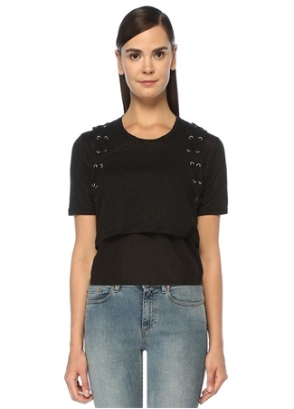 Alex Siyah Kuşgözü Detaylı Crop Keten T-shirt
