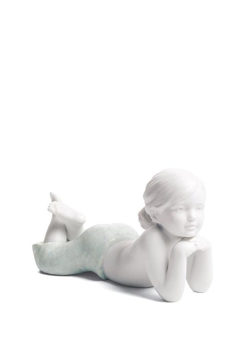 Beyaz Kız Çocuk Porselen Dekoratif Obje