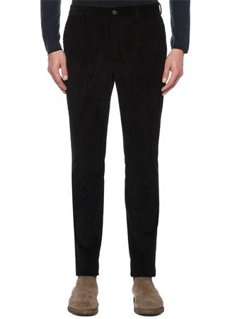 Siyah Normal Bel Boru Paça Çizgi Dokulu Pantolon
