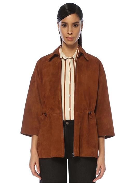 Kahverengi Beli Büzgülü Truvakar Kol Süet Ceket