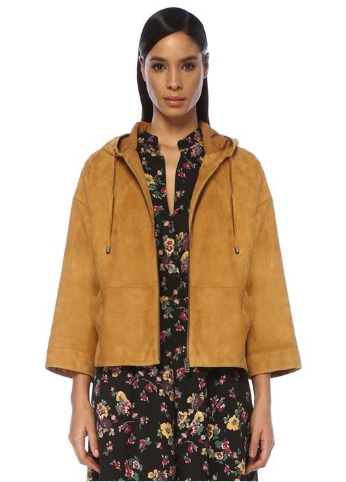 Hardal Kapüşonlu Sweatshirt Formlu Süet Ceket