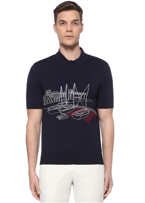 Lacivert Polo Yaka Pano Nakışlı T-shirt